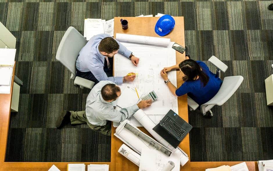 Engineers working on desk