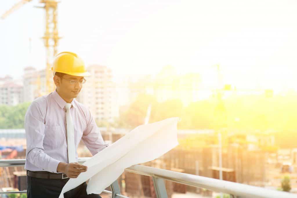 Asian Indian site contractor engineer working