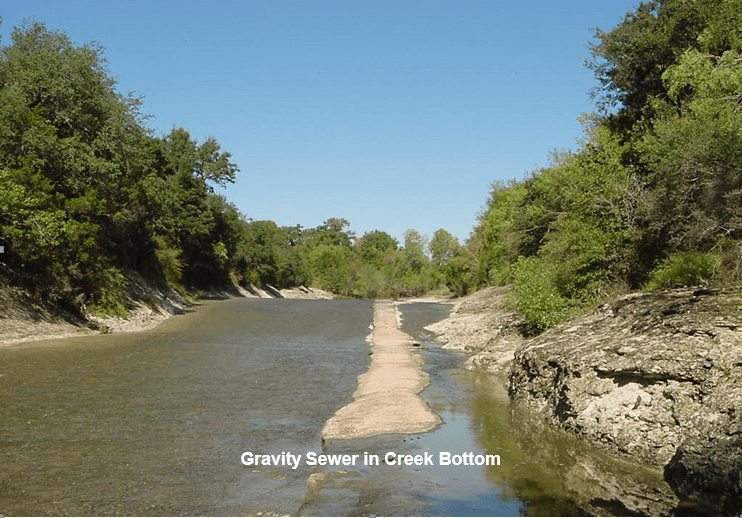 Center Creek - Gravity Sewer in Creek Bottom
